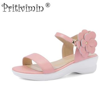 Pritivimin FN194 Fashion women's summer sandals laidies strappy high heel wedges girls pink mint green platform lolita shoes