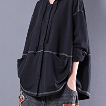 Women's Black Cotton Jacket Coat Casual Loose Fitting One Size