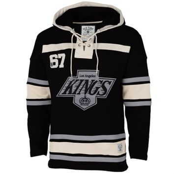 Men's Los Angeles Kings Old Time Hockey Black Vintage Logo Home Lace Heavyweight Hoodie