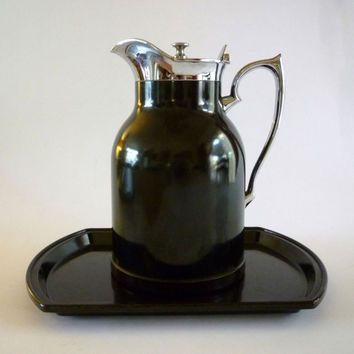 Vintage THERMOS STRONGLAS Bakelite Coffee Pot and Tray Set 1950s