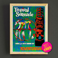 Vintage Disneyland Adventureland Tropical Serenade Attraction Poster Reprint Home Wall Decor Gift Linen Print - Buy 2 Get 1 FREE - 374s2g