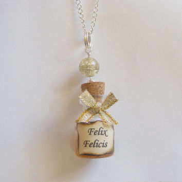Felix Felicis Potion Bottle Necklace Pendant - Miniature Food Jewelry