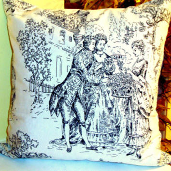 Toile de Jouy – White french Jacquard pillow cover 20x20