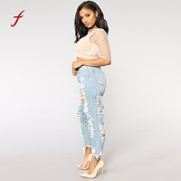 Feitong ripped jeans for women Denim Hole Female high waist jeans Stretch Slim Sexy Pencil Pants plus size ladies denim jeans