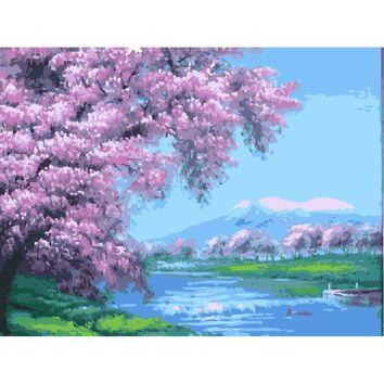 UnUnframed picture on wall acrylic painting by numbers canvas painting art Christmas gift Cherry blossoms coloring by numbers