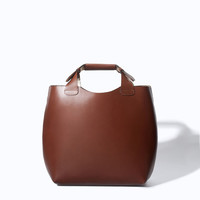 LEATHER SHOPPER WITH LAMINATED INTERIOR