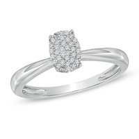 1/10 CT. T.W. Diamond Cluster Oval Promise Ring in 10K White Gold - View All Rings - Zales