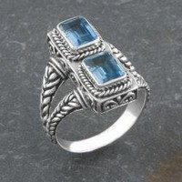 Sterling Silver Blue Topaz Two-Stone 'Cawi' Ring (Indonesia) | Overstock.com