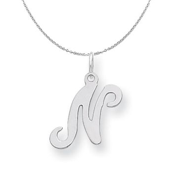 Sterling Silver, Sophia Collection, Small Script Initial N Necklace
