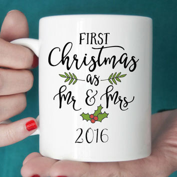 First Christmas as Mr and Mrs , Mr and Mrs Christmas Gift, Our First Christmas, Wedding Gift, Christmas Gift for Newlyweds, Mr and Mrs Mug