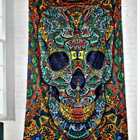 3D Psychedelic Skull Art Wall Hanging Twin Tapestry with 3D Glasses