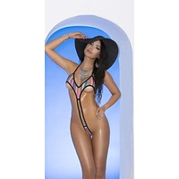 Elegant Moments 82072 Extreme Multi Colored Print Micro Monokini One Piece G-String Thong Swimsuit