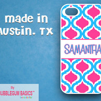 Personalized iPhone Case iPhone 4 4S iPhone 5 Phone Case - Blue Hot Pink Moroccan Duo Name Band - Monogrammed Custom