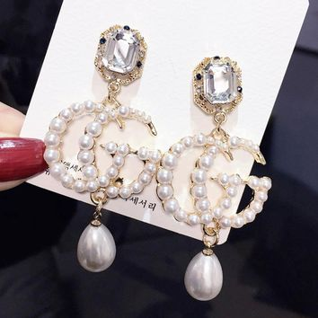 GUCCI 925 Silvery Needle Fashionable Women Diamond Pearl Pendant Earrings Accessories Jewelry