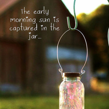 Garden Solar Light/Fairy Lantern, fully assembled with a fitted handle to hang it from.