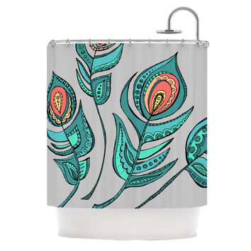 "Brienne Jepkema ""Feathers Gray"" Grey Teal Shower Curtain"