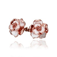 18K Rose Gold Plated White Enamel Rose Flower Stud Earrings