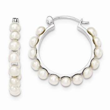 Sterling Silver 4-5mm White FreshWater Cultured Pearl Hoops