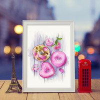 Doughnuts | Watercolor & ink Illustration | Art print & Posters | Koma Art
