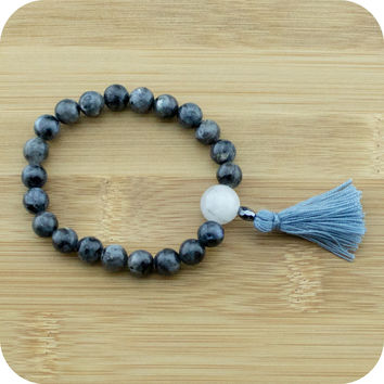 Black Labradorite Wrist Mala Bracelet with Tourmilated Quartz Crystal