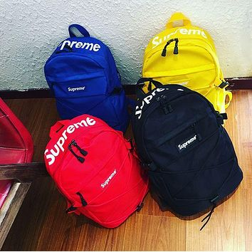 Canvas street fashion supreme Casual Sport Laptop Bag Shoulder School Bag Backpack