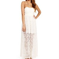 Ivory Lace Strapless Maxi Dress