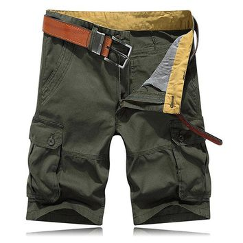 Knee Length Cotton Cargo Pants Loose Straight Casual Shorts