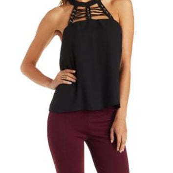 Black Lace-Up Caged Halter Top by Charlotte Russe