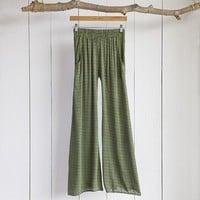 Palazzo  Pants:  Large  Green  With  Purple  Flower  Palazzo  Pants    From  Natural  Life