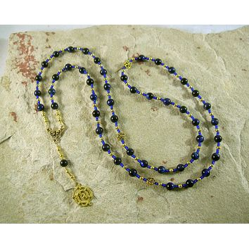 Astraea Prayer Bead Necklace in Blue Tiger Eye: Greek Goddess of Justice, Protector of the Innocent