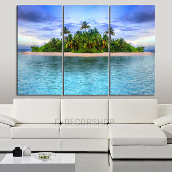 Large Wall Art Canvas Print Tropical Island on Ocean - Ocean Theme Wall Decal - Sea Landscape Triptych Canvas Painting