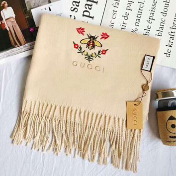 GUCCI Popular Women Embroidery Cashmere Tassel Scarf Shawl Scarves Accessories Khaki