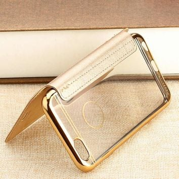 YISHANGOU For Samsung S6 S7 Edge Book Leather +TPU Wallet Flip Full Cover Phone Case For iPhone X 5 5S SE 6 6S Plus 7 8 Plus