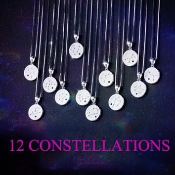 Christmas Gifts 12 Constellations engraved pendant necklace + Nice gift box ALQ1024B
