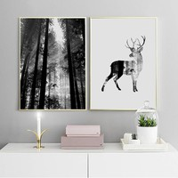 Poster Art Forest Deer Woodland Nordic Posters and Prints Scandinavian Decor Wall Picture for Living Room Wall Art Canvas Print