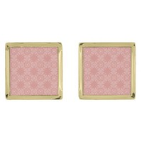Dusty Pink Floral Pattern Gold Finish Cuff Links