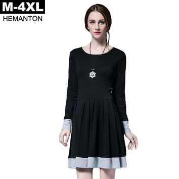 Black Dress Autumn Ruffles Long Sleeve O Neck Casual Loose Pleated Dresses