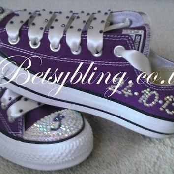 Personalised Crystal Wedding Converse-Crystal brides Converse Free UK Delivery
