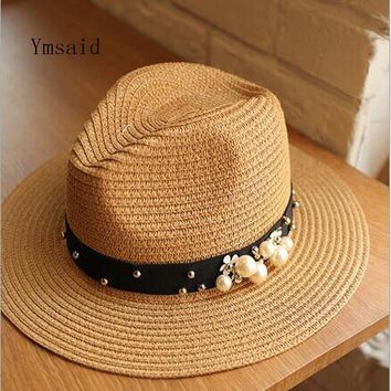 Earl stereoscopic Pearl summer hat Stitching color Beach holiday straw sun hats for women summer style hat 2017