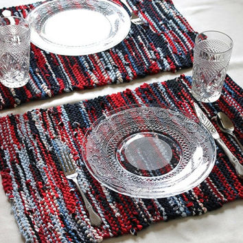 Americana Placemats Artisan Knitted Upcycled TShirts Red White Blue Navy Nautical Modern Cottage Chic (set of 2)-- US Shipping Include