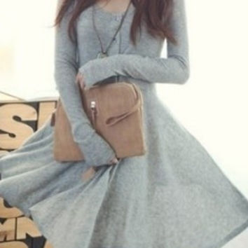 Grey Blends Women Fashion Round Neck Long Sleeve Asymmetrical Knee-Length Dress One Size FZ72261g (Size: M, Color: Gray) = 1958157572