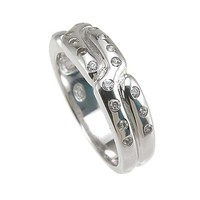 Plutus Brands 925 Sterling Silver Rhodium Finish CZ Pave Anniversary Band 0.25 Carat Weight- Size 6