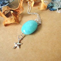 Amazonite Starfish Sterling Silver Necklace Charm Stone