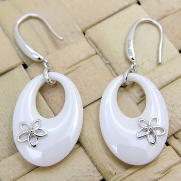 925 Silver Rhodium Hawaiian Plumeria Flower White Ceramic Oval Hook Earrings