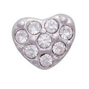 Crystal Heart Floating Charm for Memory Lockets