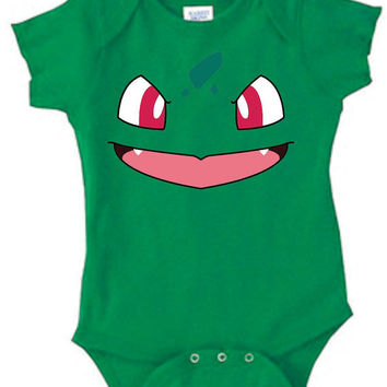 Inspired by Bulbasaur face Pokemon Onesuit new born to 24 months sizes very cute