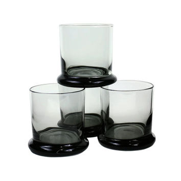 Vintage Whiskey Glasses Smokey Black PEEDEE Italy