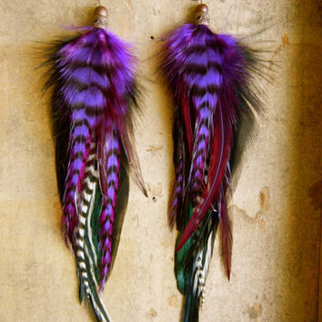 SALE 20 Percent OFF the ENTIRE Shop - Ultra Violet Rays Long Feather Earrings