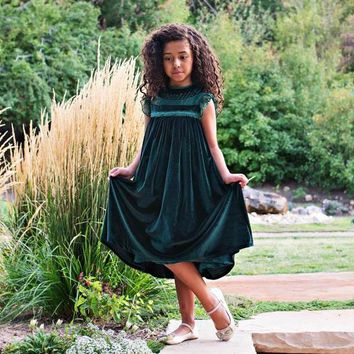 Magnolia Emerald Green Velvet Smock Dress - Toddlers & Girls