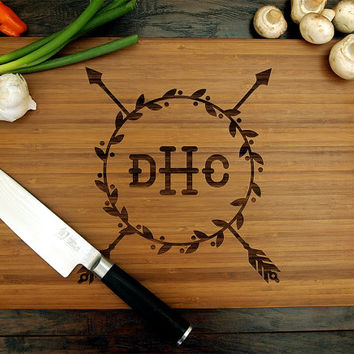 Personalized Cutting Board (Pictured in Amber), approx. 12 x 16 inches, Decorative Arrow Wreath Monogram - Wedding gift, Housewarming gift.